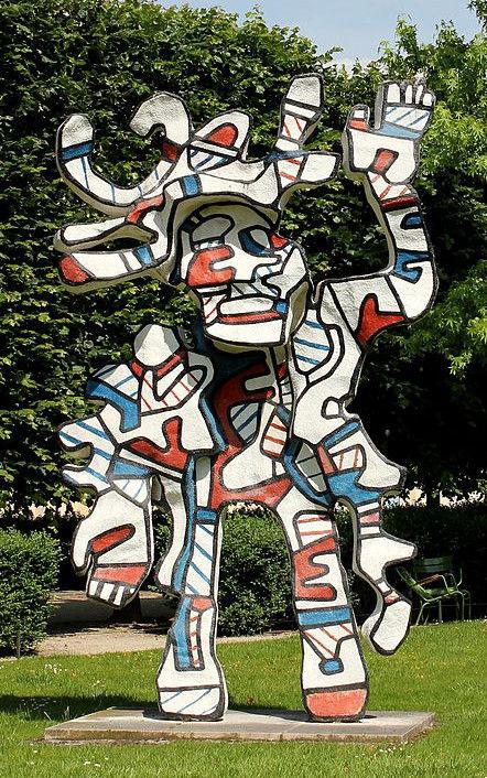 Jean Dubuffet, Le Bel costumé, époxy peint au polyuréthane, 1998, Jardin des Tuileries, Paris, France