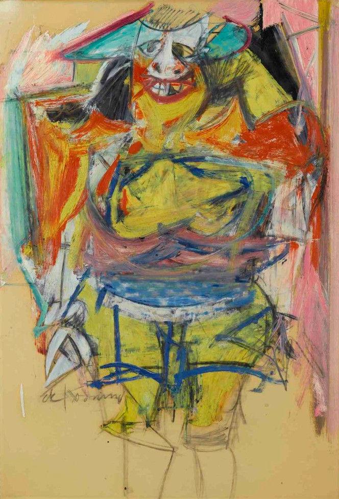 Willem de Kooning, Woman, huile sur papier, 1953-54
