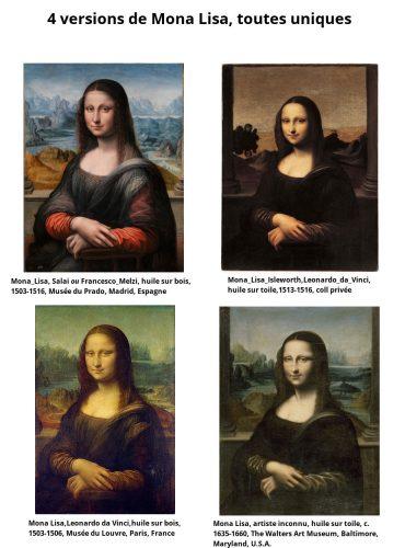 4 versions de Mona Lisa