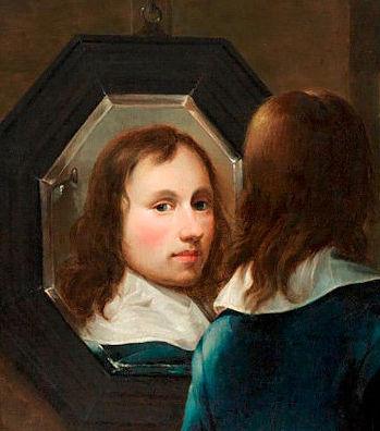 Autoportrait au miroir et chevalet (détail)