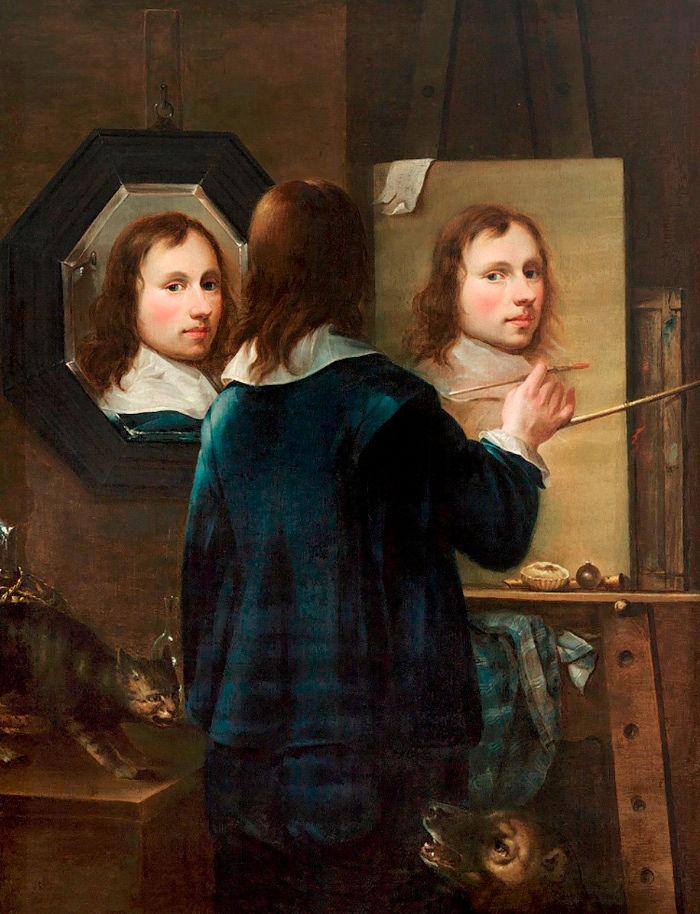 Autoportrait au miroir et chevalet